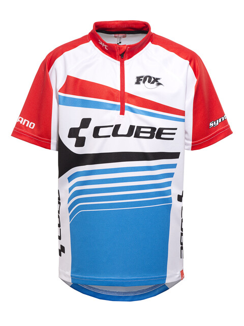 Cube Teamline Trikot kurzarm Juniors white'n'blue'n'red